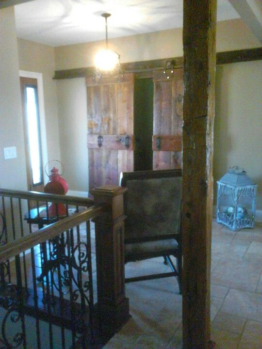 We Built The Doors On Antique Barn Door Rollers Track Hanging In Front Of Our Customer S Home Office Also This Entry Way Has One Hand Hewn Ax