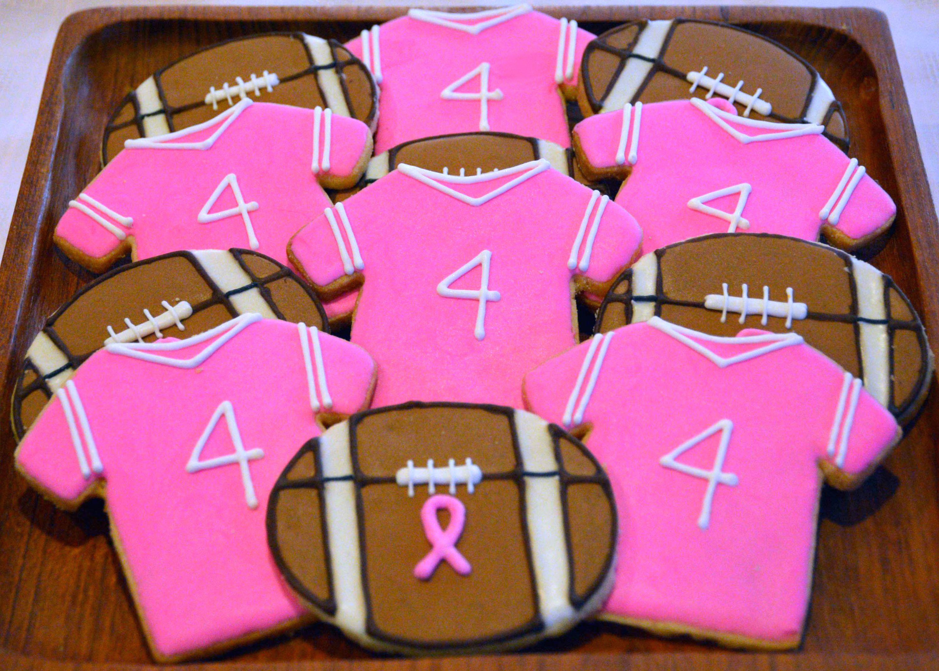 Breast Cancer Awareness Football Sugar Cookies Etsy.com/shop ...