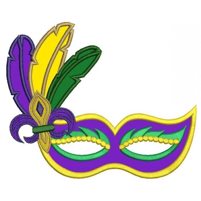 Mardi Gras Mask With Feathers and fleur de lis Applique Machine ...