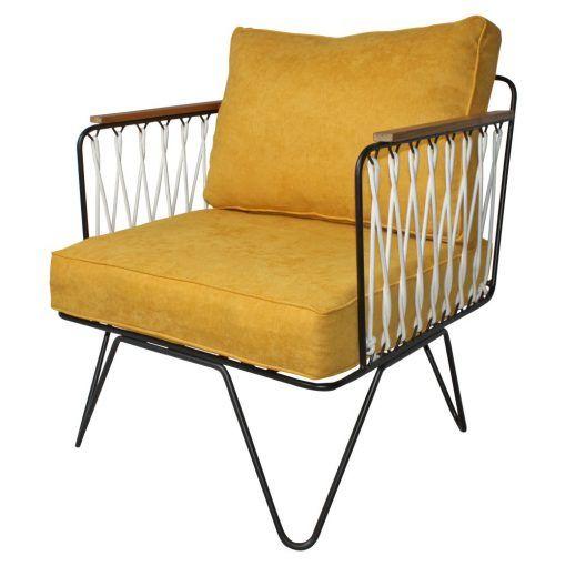 Mister Wils Chaise Fauteuil Lounge Industriel Nautique Acier Corde