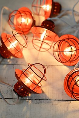 Beau Nautical Cage String Lights Red 10ct
