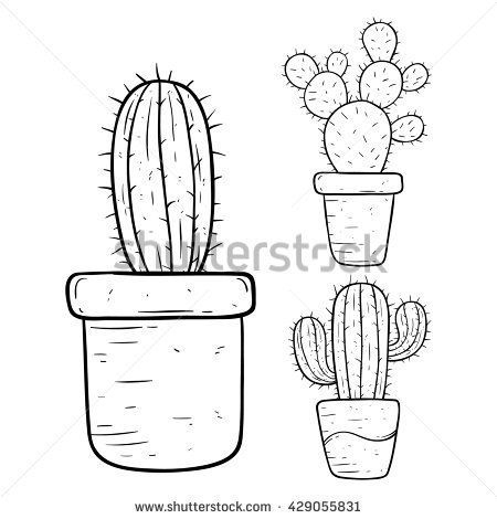 black and white cactus in pot with doodle or hand drawing. Black Bedroom Furniture Sets. Home Design Ideas
