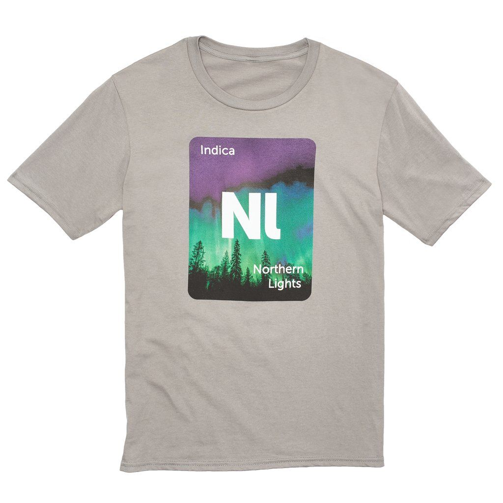 Leafly Unisex Light Grey Northern Lights Strain Graphic T