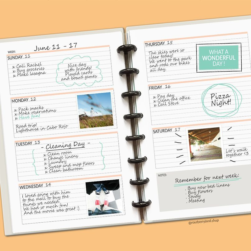 Printable planner pages by RoseberryLand The Weekly Spread has the