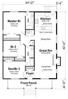Traditional Style House Plan 74001 with 3 Bed, 2 Bath, 2