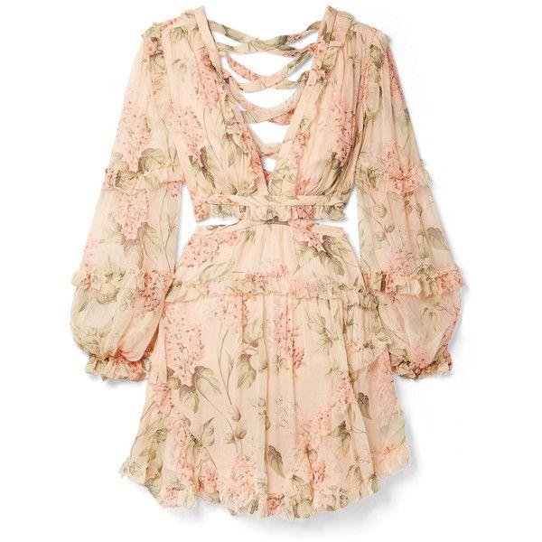2f5f145ab6 Zimmermann Prima cutout ruffled floral-print silk-georgette mini dress  ($995) ❤ liked on Polyvore featuring dresses, vestidos, peach, short mini  dress, ...