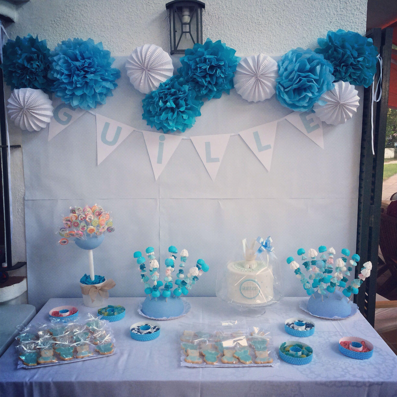 Fiesta bautizo de guille party baby candy bar cumple for Decoracion pared bebe nino