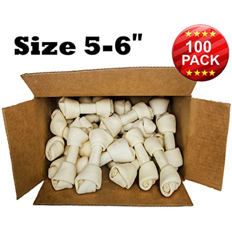 Premium Knot Bones Size 5 6 100 Pack Dog Chew Treat Made