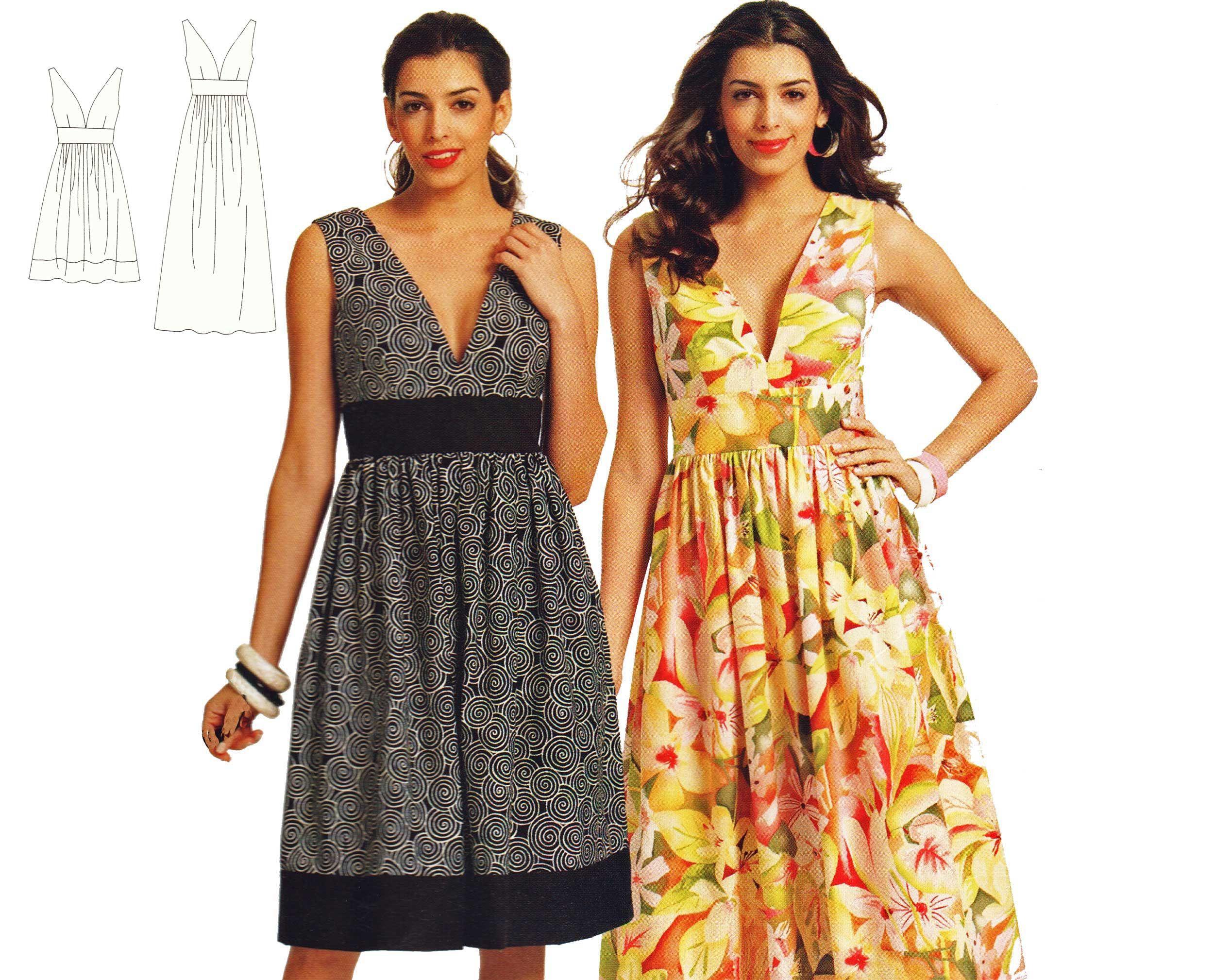 Plus Size Dress Pattern - Sleeveless Deep V Maxi Dress ...