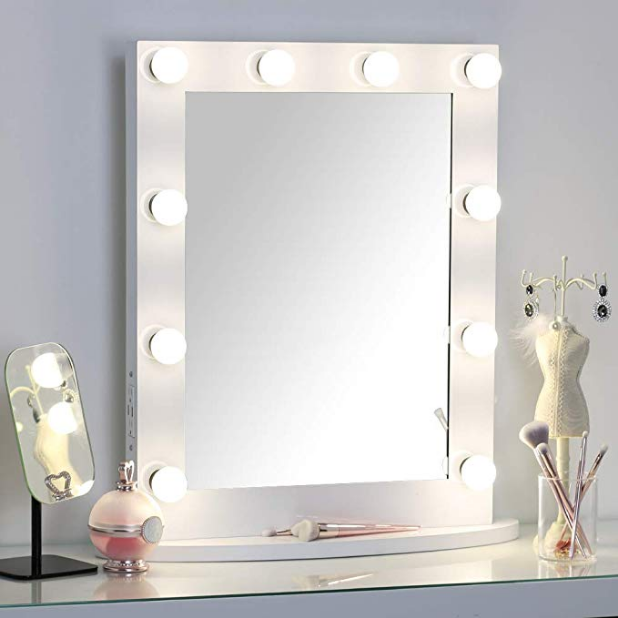 Missmii Hollywood Lighted Makeup Vanity Mirror With Dimmer Tabletop Or Wall Mount Mirror With Lights Professional Led Illuminated Cosmetic M Beleuchteter Spiegel