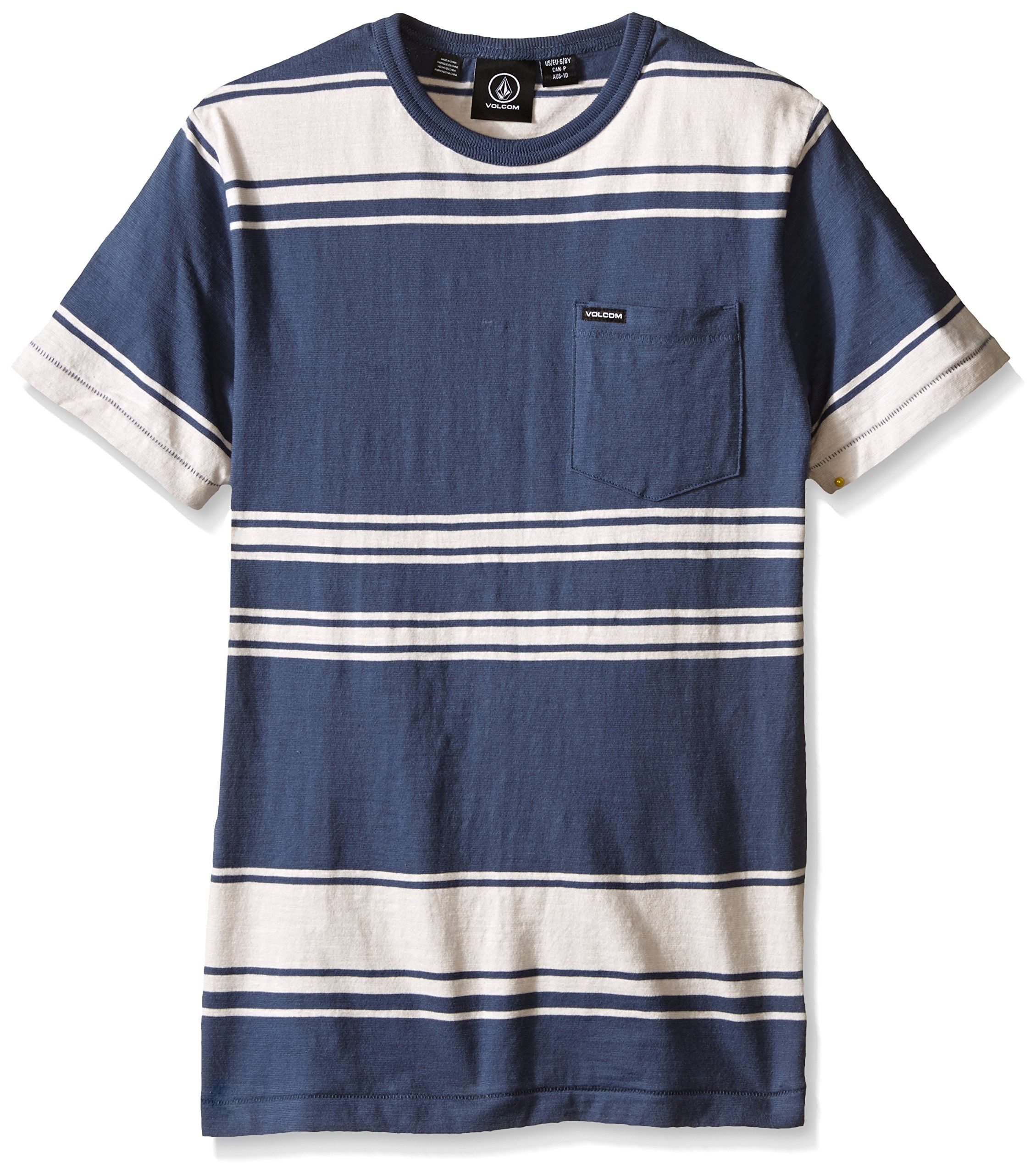 Volcom Big Boys' Hayward Stripe Crew Shirt, Grey/Blue, Small. Slim fit crew neck t-shirt. All over stripe design. Patch pocket at chest. Small exterior woven label.
