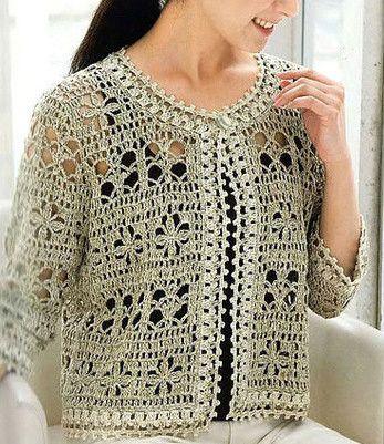 Elegant Crochet Women Summer Jacket Pattern Written In English
