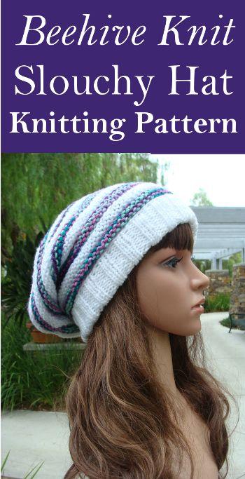 Beehive Knit Slouchy Hat Knitting Pattern Knitting Diy Crafts