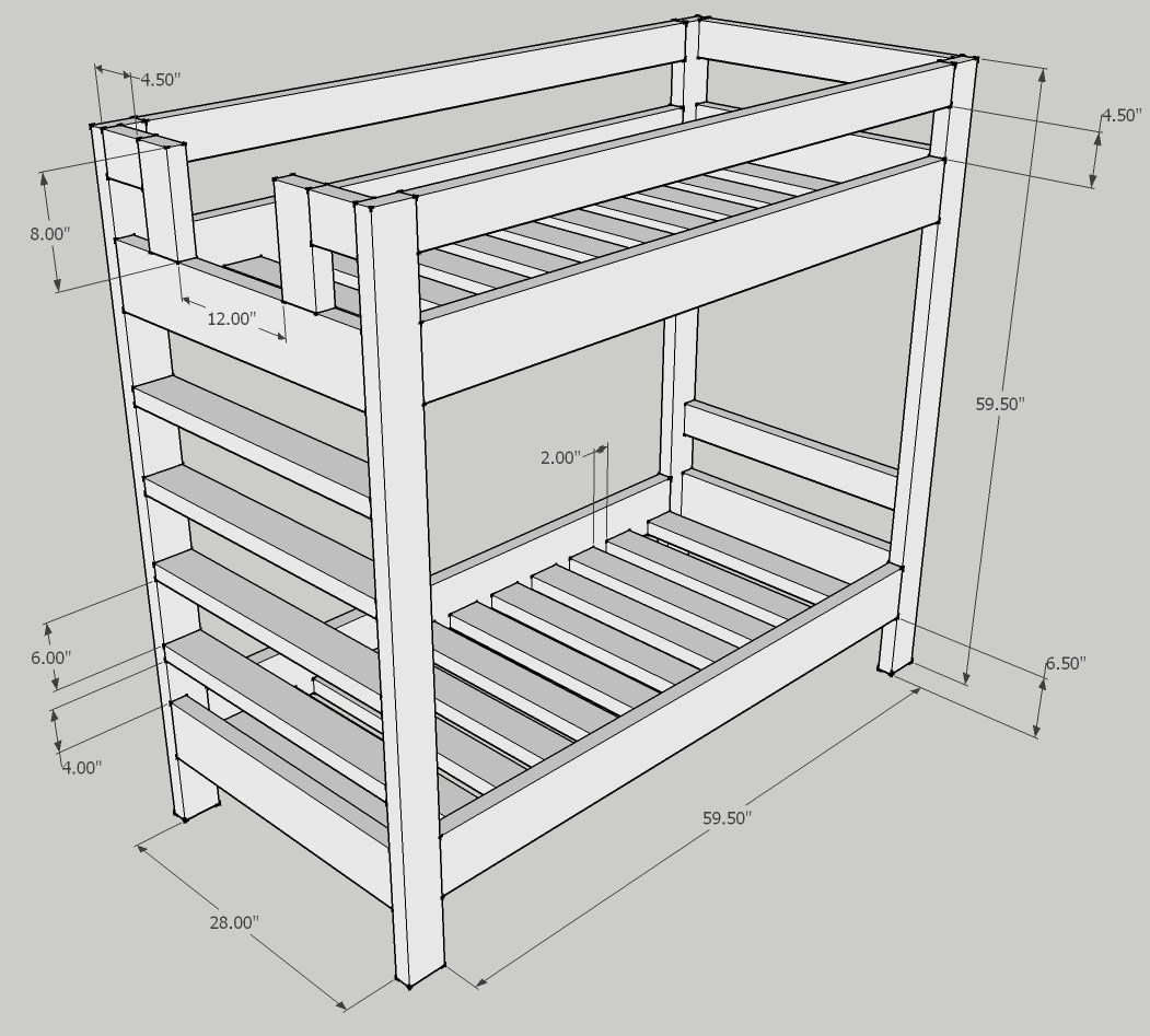 bunk bed dimensions plans | Decor!!! | Bunk beds, Bunk bed plans