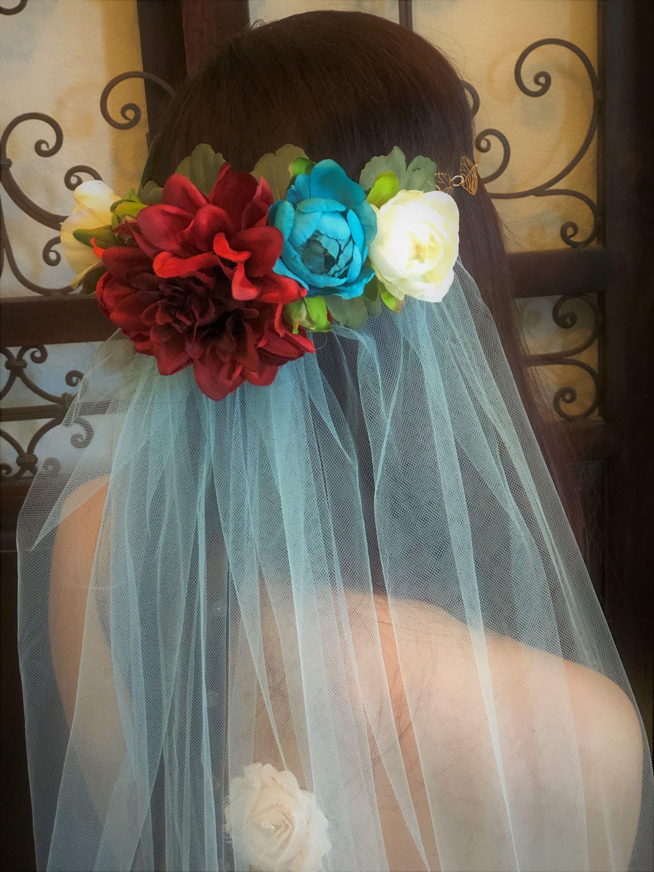Floral veil turquoise veil flower crown garden bridal veil