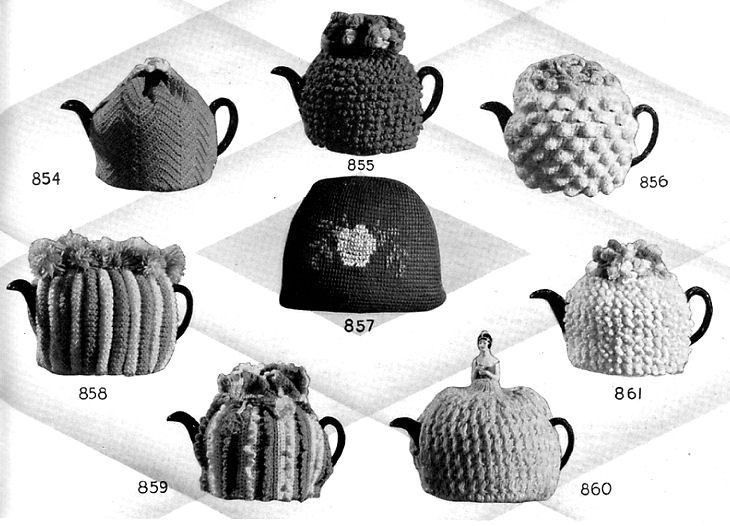 Tea Cozies (aka tea pot slipcovers). I love the notion, but I do not know anyone who would use one...(Is that a little doll popping up from the one at bottom right?)