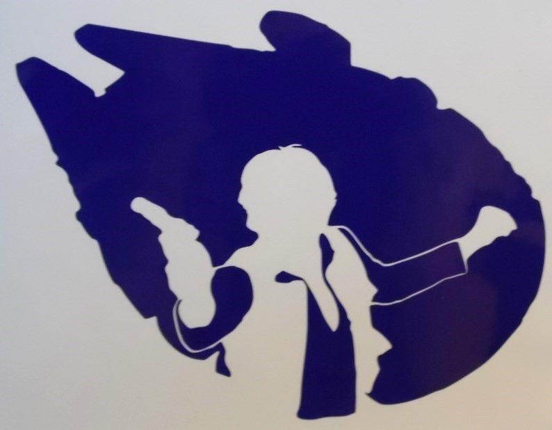 Han solo star wars millenium falcon car window vinyl decal sticker choose color