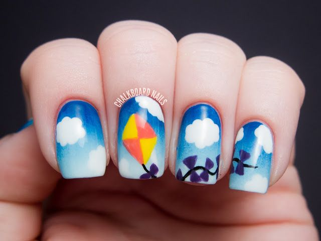Chalkboard Nails: Kite nail art