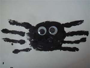 S is for Spider, or Very Busy Spider, or Halloween handprint craft idea.