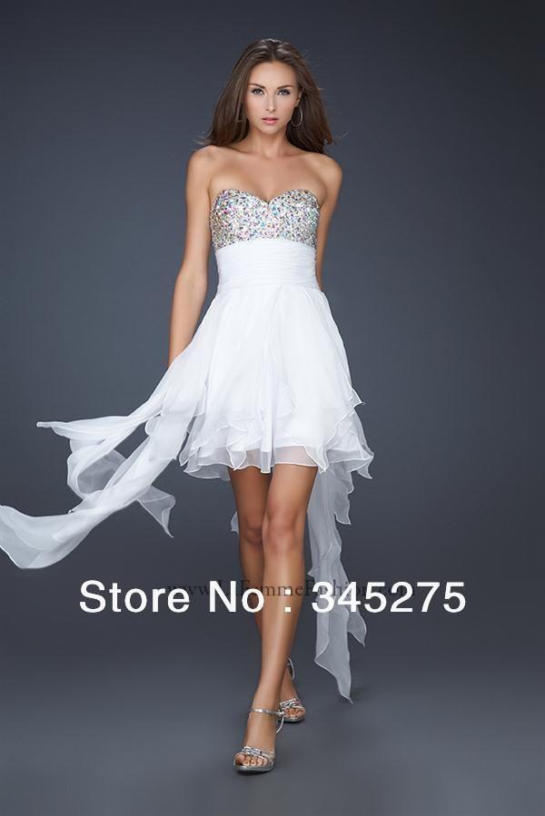 2015 Sweetheart White La Femme 17687 Hi Low Homecoming Dress