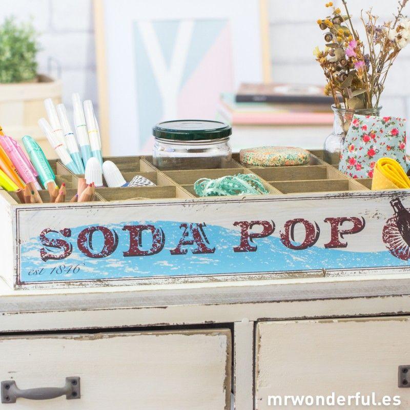 Bandeja de madera con separadores - Soda
