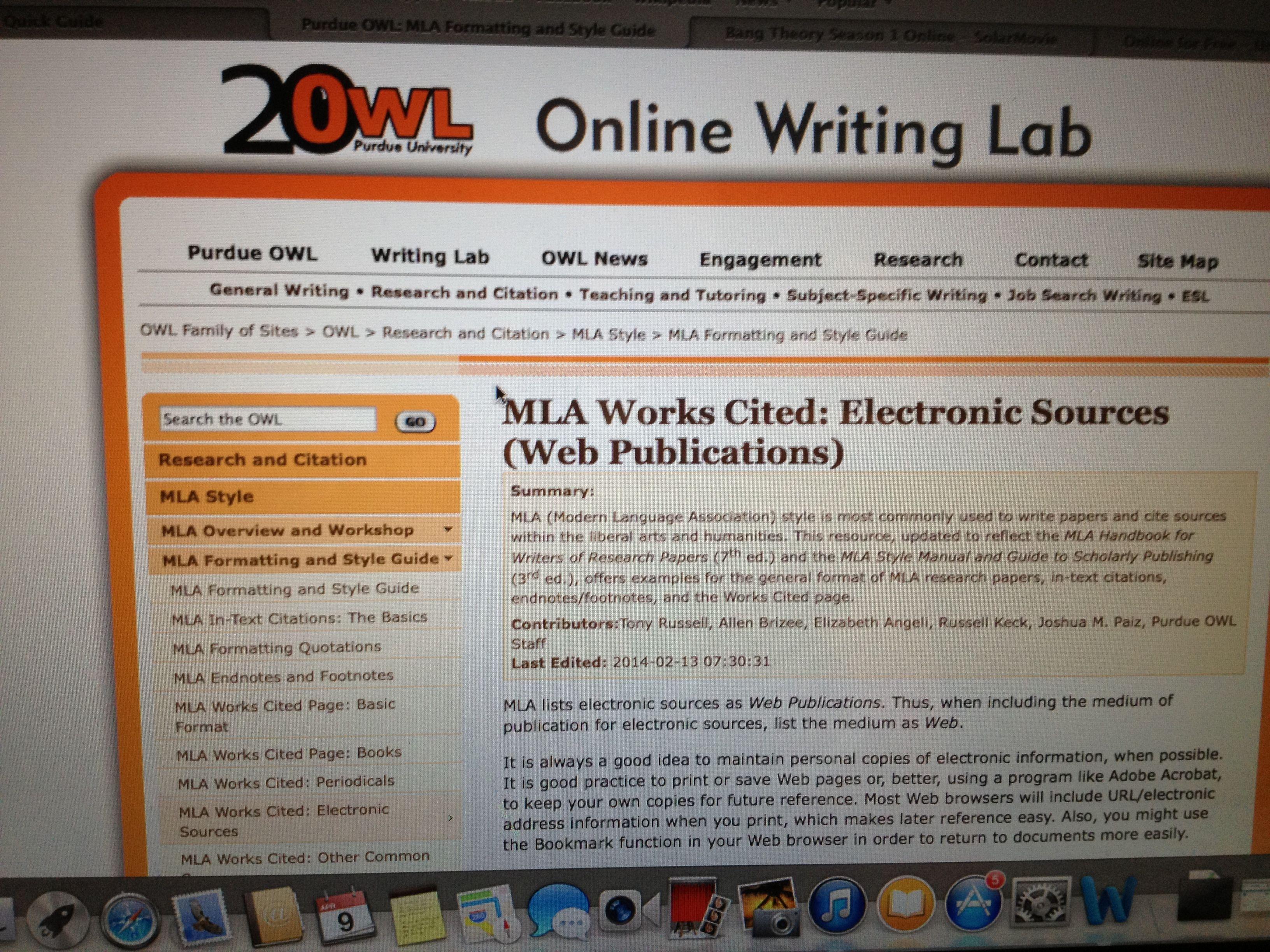 purdue owl mla electronic sources