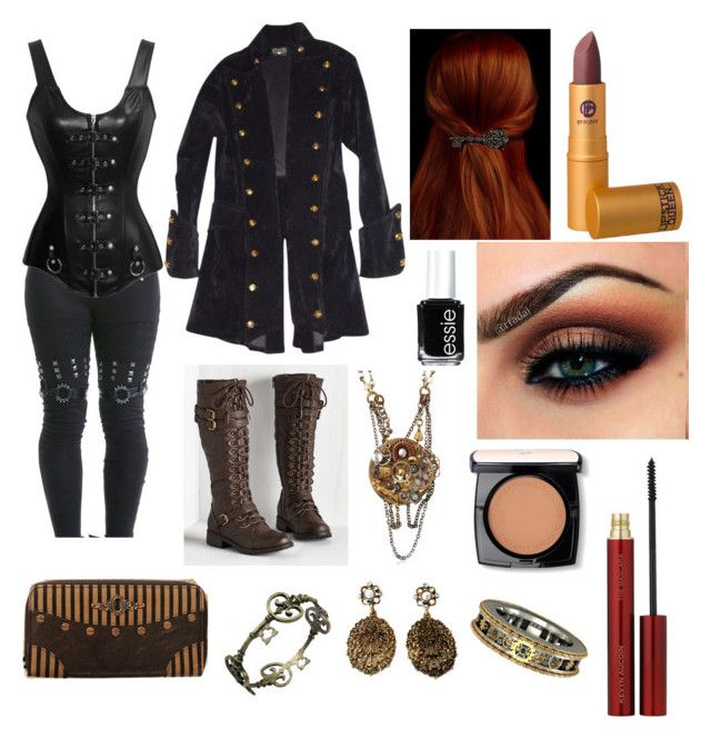 """""""Goth steampunk"""" by jeanettebeatrice ❤ liked on Polyvore featuring One Off, Essie, Lipstick Queen, Lancôme and Kevyn Aucoin"""