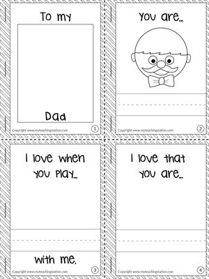 What I Love About My Dad Mini Book Dad Books Father S Day Printable Fathers Day Coloring Page