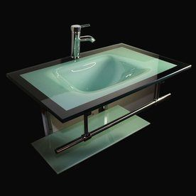 Kokols USA Aqua Green Integral Single Sink Bathroom Vanity With Tempered  Glass And Glass Top (