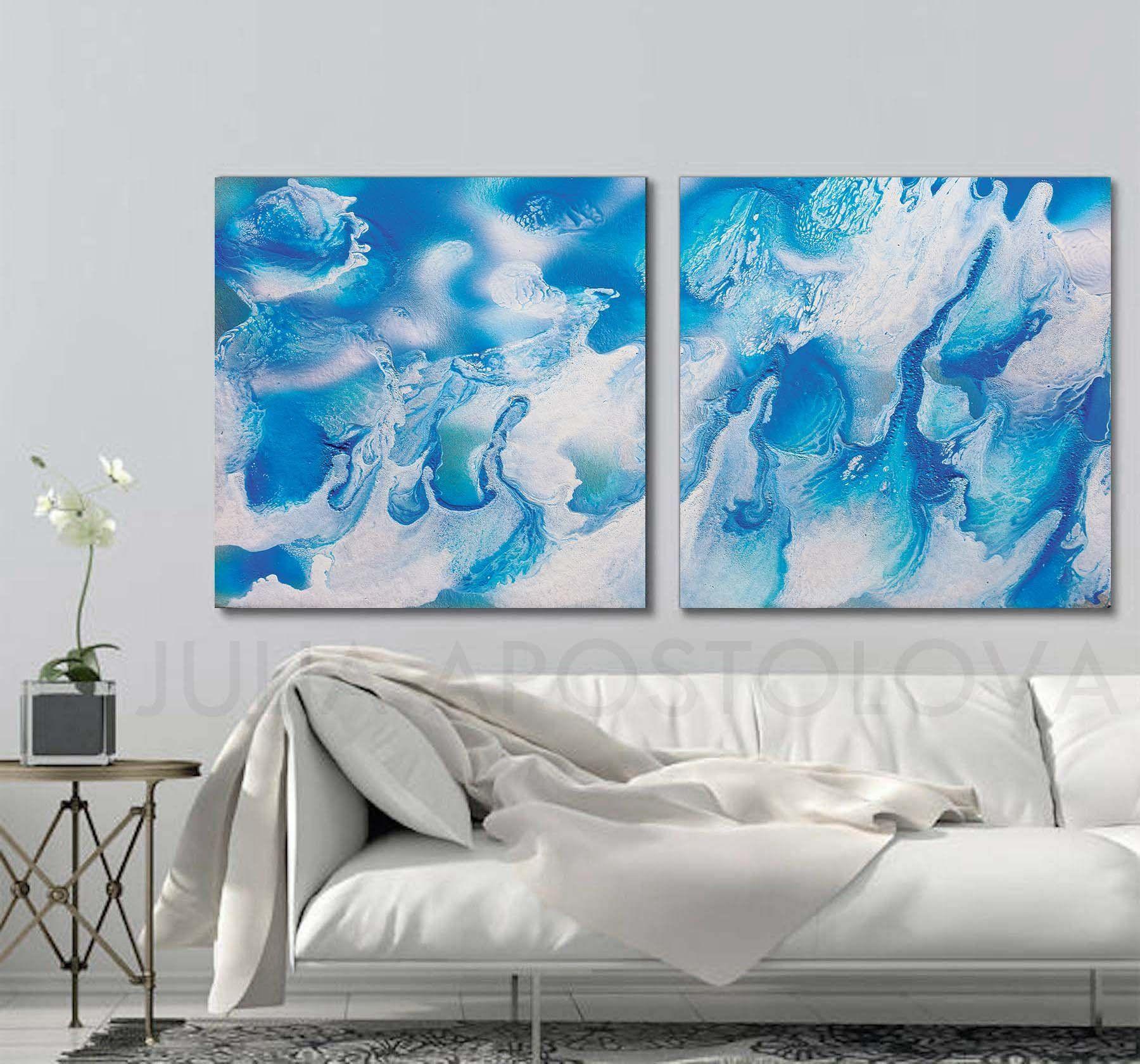 Tropical escape aqua blue wall art canvas art print beach home