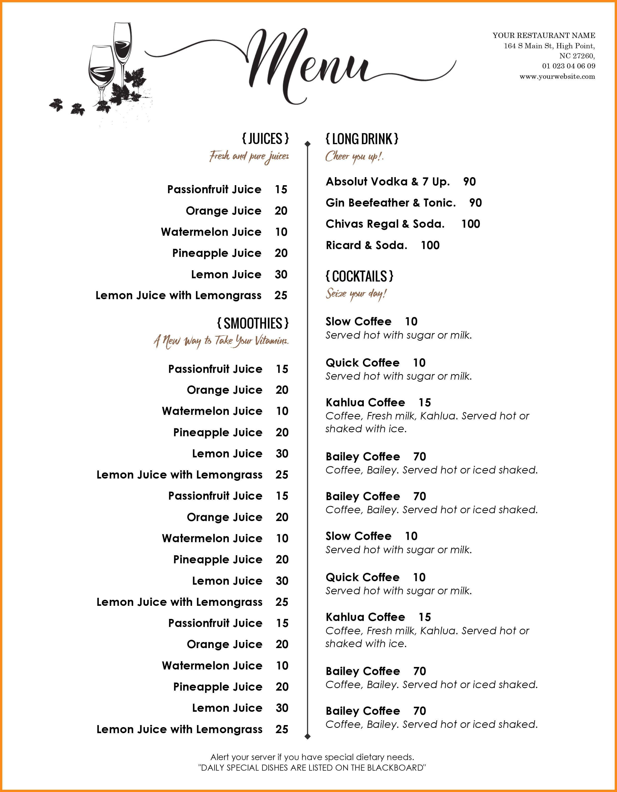 Menu Template Word 8 Download Free Menu Templates Word Odr2017 Free Menu Templates Restaurant Menu Template Printable Menu Template