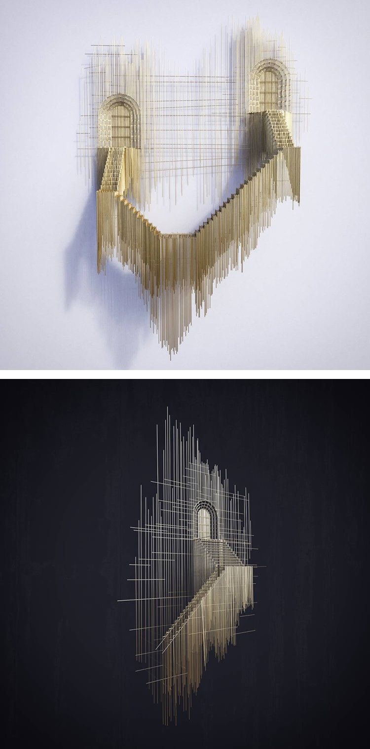 Arte Architecture La Maison De Fer Floating Staircase Sculptures Made With Wire Look Like 3d