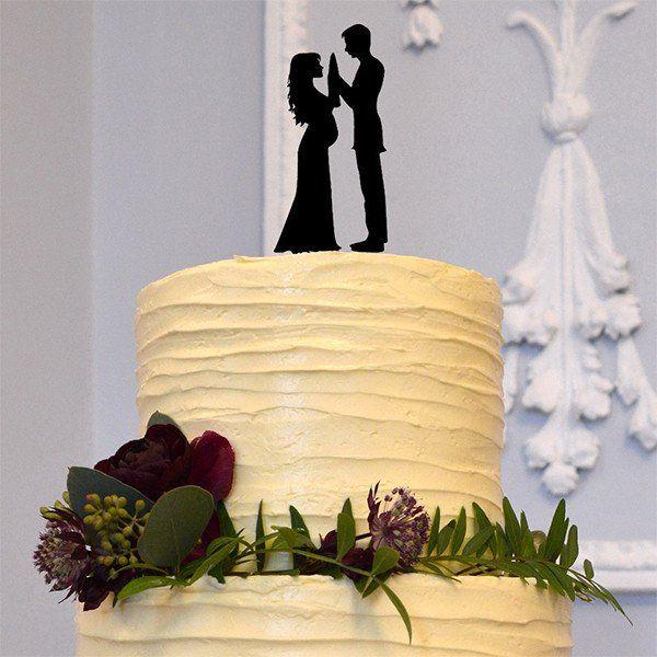 Romantic Wedding Cake Topper (Pregnant Bride, Groom &Baby /Family ...