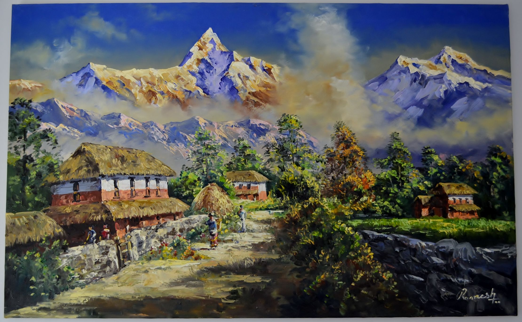 Paintings from nepal fish tail mountain