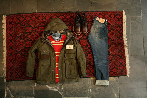 Fall Red Wing Beckman boots in cigar, 1967 505 jeans by Levi's Vintage Clothing, denim button down shirt by Our Legacy, striped pocket l/s tee by YMC & wool fishing jacket by Barbour x Tokihito.