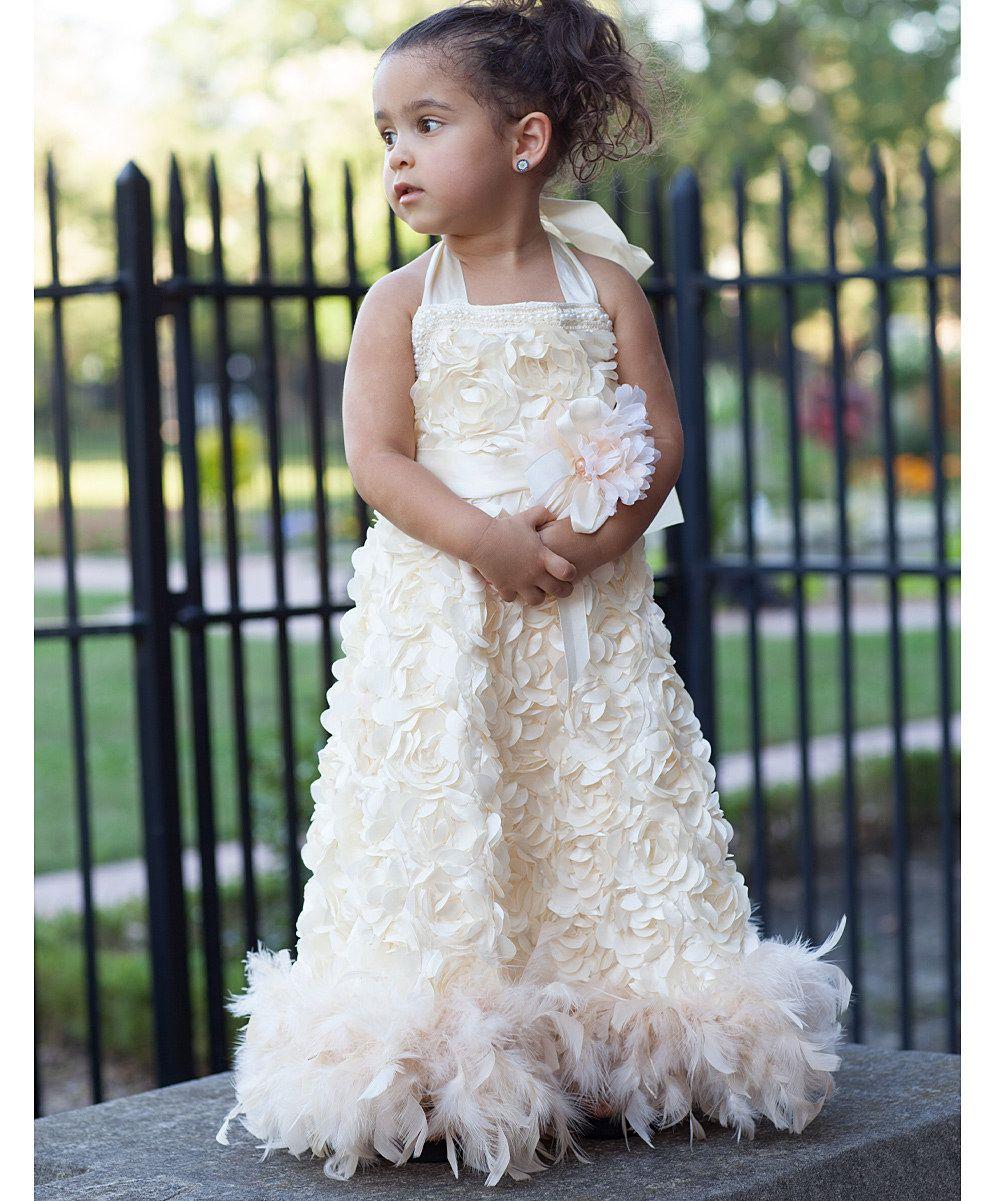 Cream rosette feather boa halter dress infant u toddler zulily