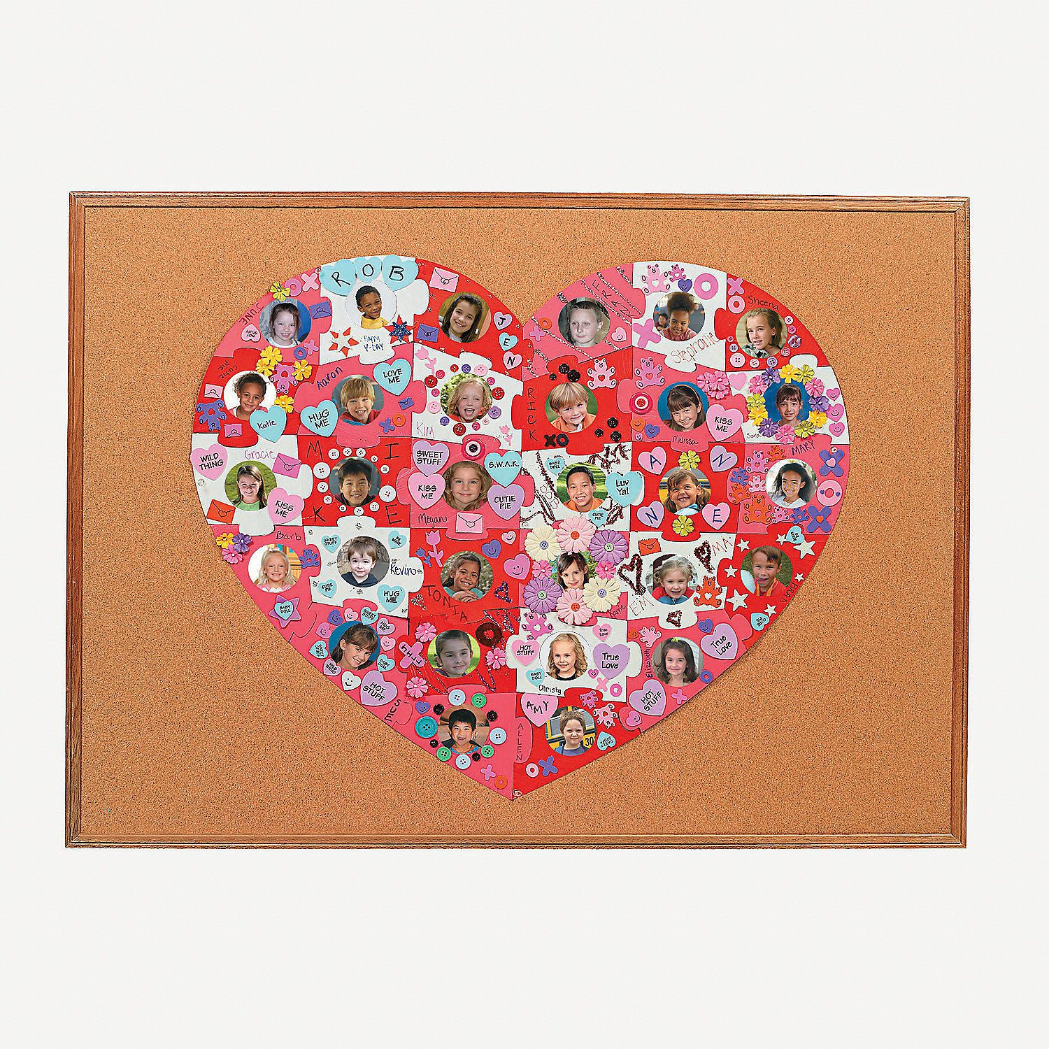 Diy giant heart shaped photo bulletin board puzzle for Heart shaped bulletin board