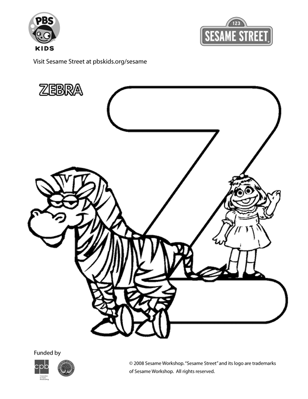 Pin By Ronnie On Sesame Street Alphabet Coloring Pages Zebra Coloring Pages Sesame Street Coloring Pages