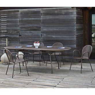 Salon de jardin avec table extensible 180/240cm et 4 fauteuils EVO ...