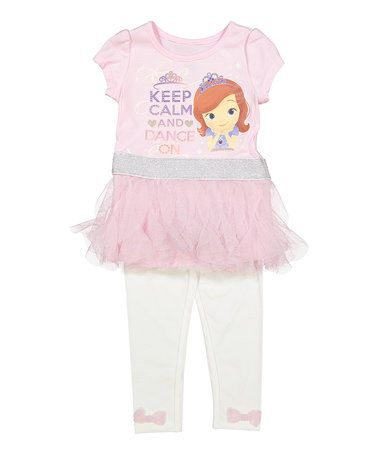 Another great find on #zulily! Pink Sofia 'Keep Calm' Tunic & Leggings - Toddler & Girls #zulilyfinds