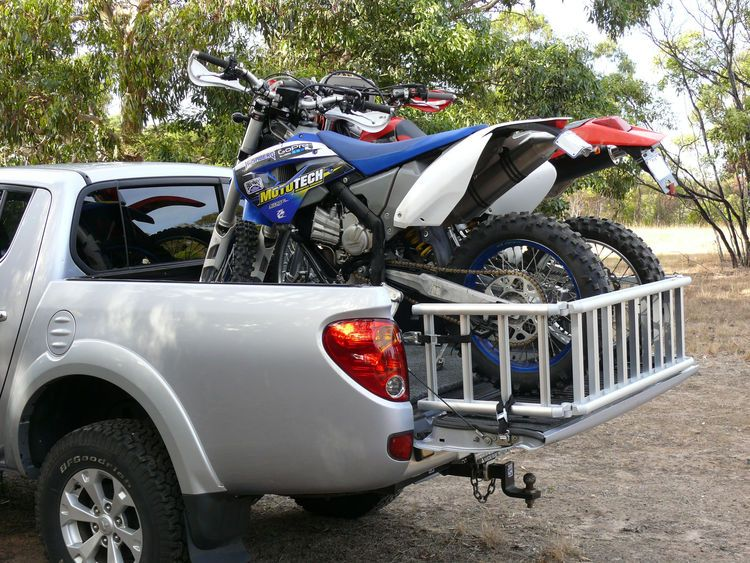 ReadyRamp with two dirt bikes on Mitsubishi Triton Enduro