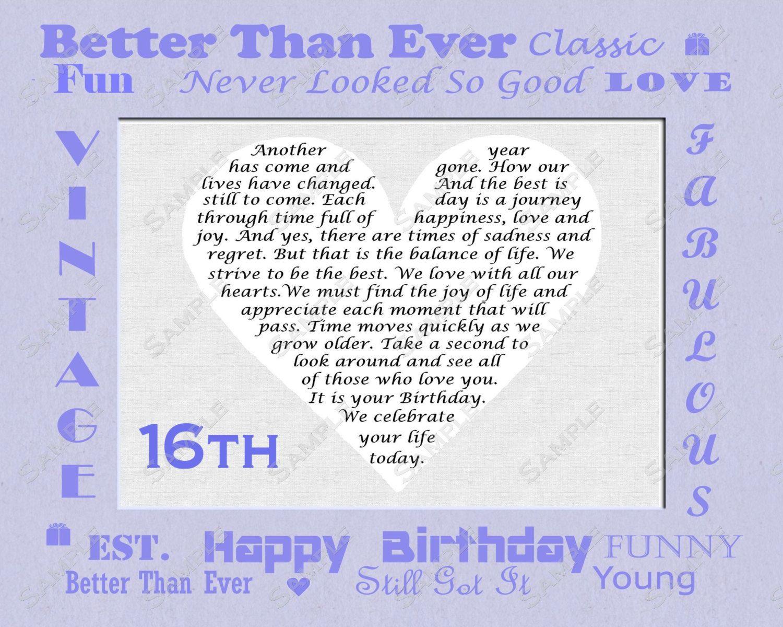 16th Birthday Gift Sweet Sixteen Birthday by