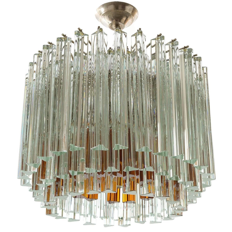Italian Venini Glass Chandelier or Flush Mount Triedri Crystals