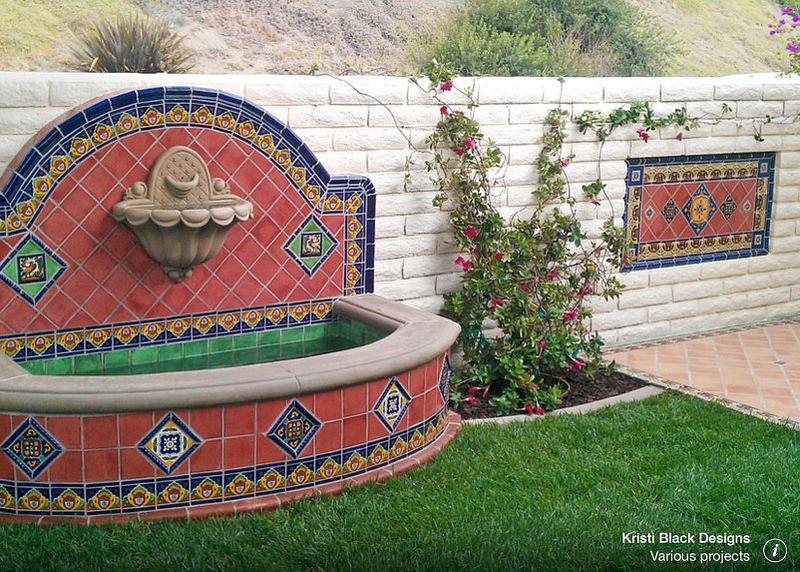 Pool fountain and fireplace mexican talavera tile design ideas cobalto tiles wholesale and - Pizza jardin san francisco de sales ...