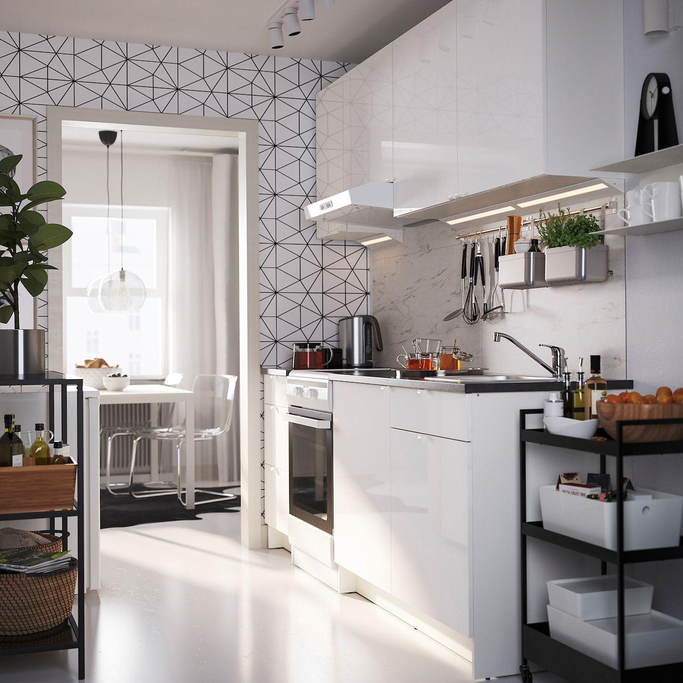 KNOXHULT Kuchnia   połysk biały   IKEA en 12   Cuisine brillante ...