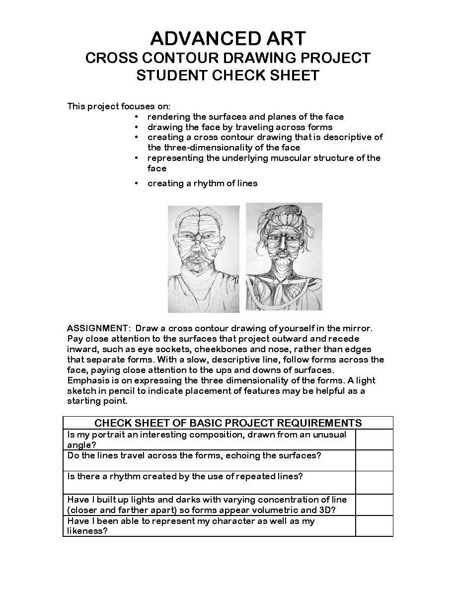 worksheet Contour Worksheet cross contour art projects handouts rubrics lesson plans and contour