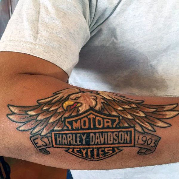 92b34d298 90 Harley Davidson Tattoos For Men - Manly Motorcycle Designs ...
