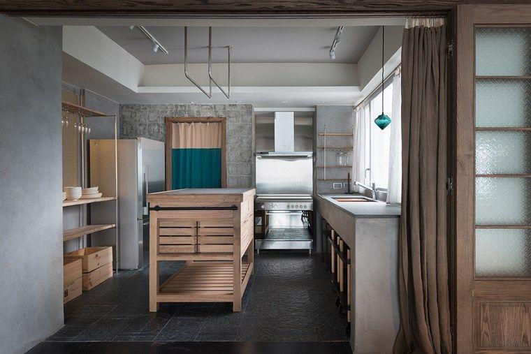 hormigon armado paredes lavabo cocina muebles madera ideas Paredes - paredes de madera