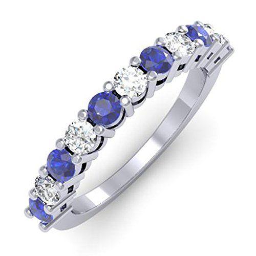10K White Gold Round White Diamond & Blue Sapphire Anniversary Stackable Wedding Band