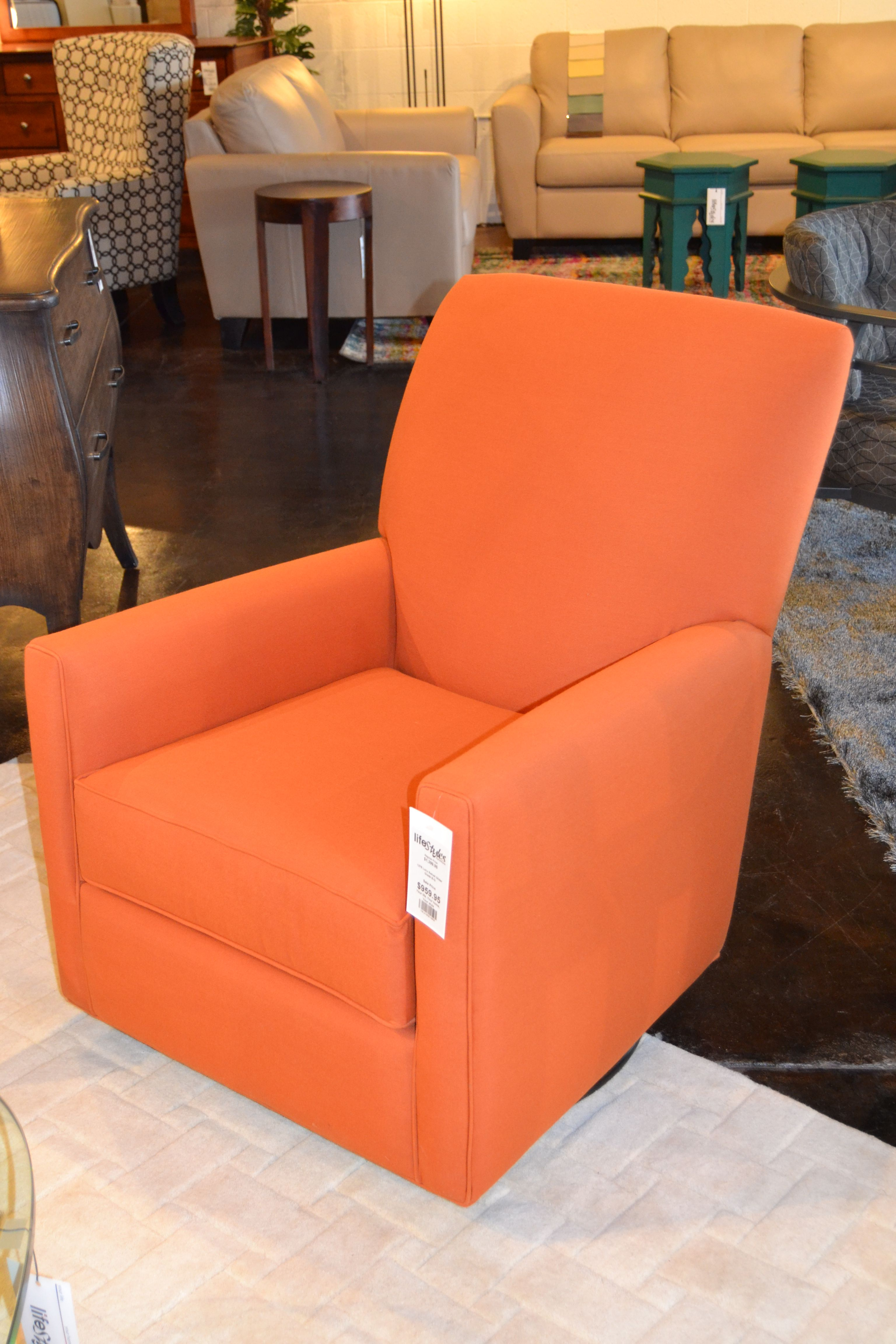 Add an accent chair in a pop of color, like this Lucy Swivel Glider for the perfect addition to your living room or reading area! Visit our website, www.lifestylescomo.com for more information.